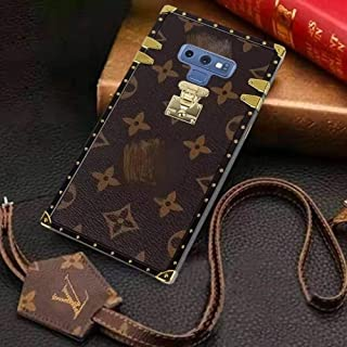 Trunk Case for Samsung Galaxy S10+ Fashion Elegant Luxury PU Leather Wallet Monogram Style Full Protection Cover Case with Lanyards Compatible for Samsung Galaxy S10+,Brown