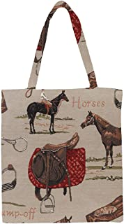 Signare Tapestry Reusable Grocery Eco Friendly Shopping Tote Bag in Horse Design (Horse)