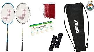 Jaspo GT 303 Pro Sliver/Blue Badminton Set(2 Badminton Racket and 5 Feather Shuttle Cork,1 Carry Bag,1 Grip,1 Badminton net)