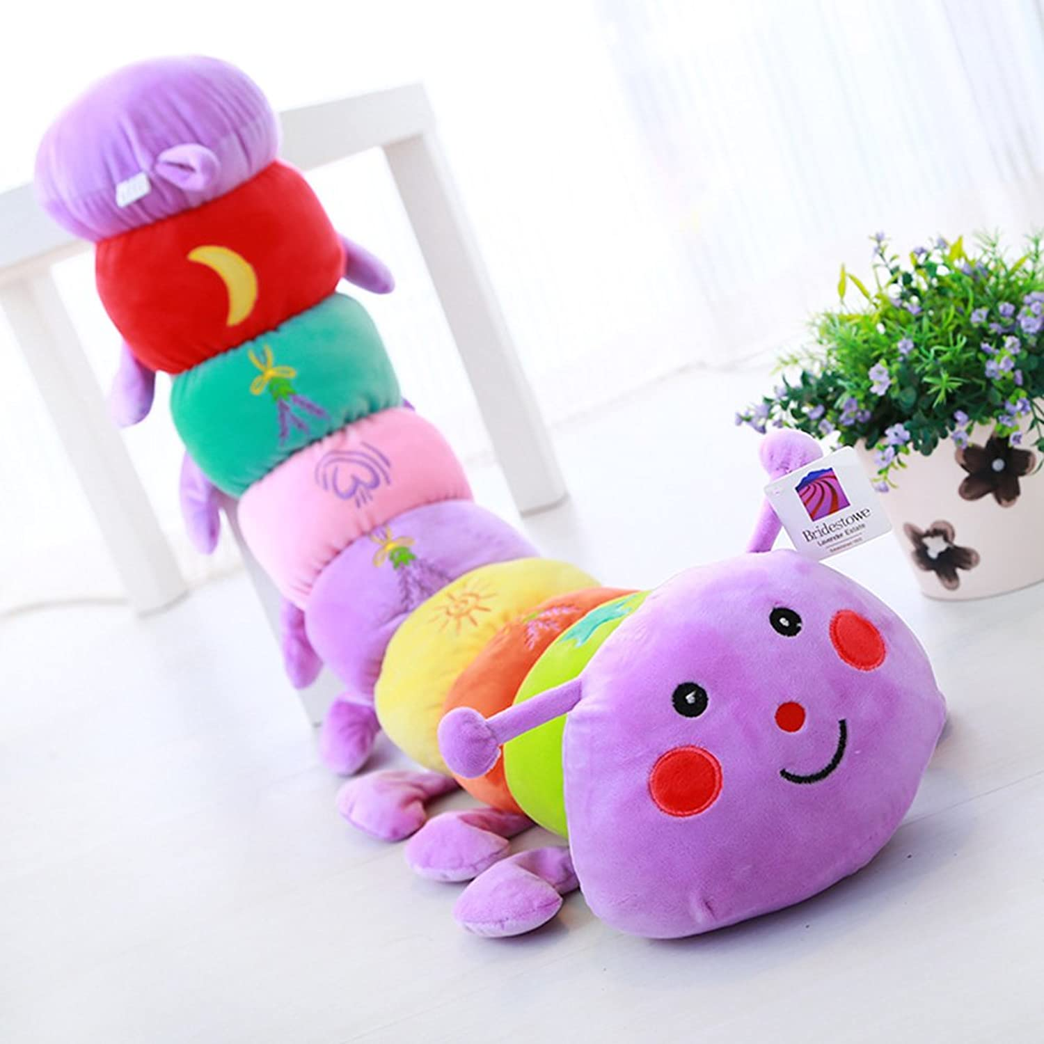 [Trendy Comfy] Creative Cute Lavender colorful Caterpillar Short Plush Doll Pillow (Purple) 46.8
