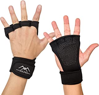SOLPEX 【最新版】 筋トレ トレーニンググローブ ウェイトリフティング ジム パワーグリップ ラバー 懸垂 リストストラップ グローブ ダンベル フィットネス 手袋 リストラップ 手首固定 滑り止め 握力サポート 通気 男女兼用