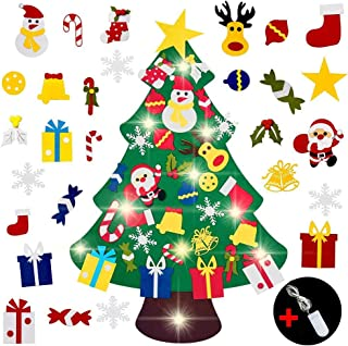 ANUOEXGO Felt Christmas Tree with 10ft String Lights 30pcs Ornaments, Xmas Gifts for Kids New Year Christmas Decorations for Window Door Wall Home Hanging Décor Handmade DIY Party Supplies