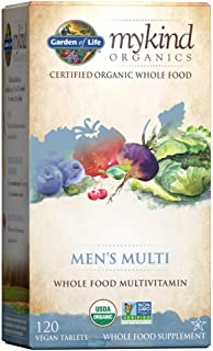 Garden of Life Multivitamin for Men - mykind Organic Men's Whole Food Vitamin Supplement, Vegan, 120 Tablets - Packaging M...