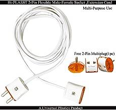 Hi-PLASST 2-Pin Flexible Male-Female Socket,Flat Wire,Extension Cord for Multipurpose Use,Festive Decorations,Diwali,Christmas,etc (2mtr)