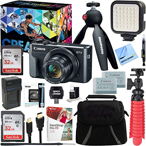 Canon PowerShot G7 X Mark II 20.1MP 4.2X Optical Zoom Digital Camera Video Creator Kit + 32GB SDHC Memory Card + Accessory Bundle
