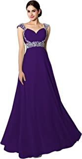 Women's Beaded Prom Dress Long 2019 Chiffon Bridesmaid Gowns for Wedding
