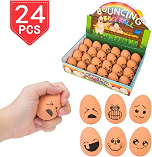 PROLOSO 24 Bouncy Rubber Balls Emoji Egg Ball Funny Expressions Easter Bouncing Pet Toys (with Emoji)