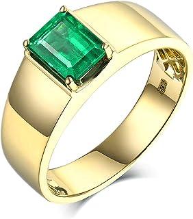 Daesar Anello Promessa di Matrimonio Oro Giallo 18K, Anelli Uomo Matrimonio Anelli con Smeraldo 1.39ct Geometria Anello Uo...