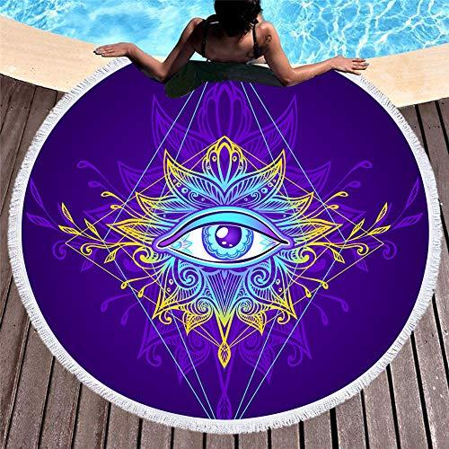 WATCBQ Toalla De Playa De Microfibra Borlas Toalla De Ducha Bohemia para Adultos Picnic Yoga Mat Manta Diámetro 150-1_El 150X150Cm