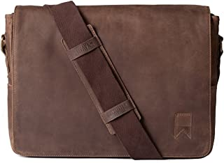 Navali Mainstay Leather Laptop Messenger Bag - Crazy Horse Leather - Perfect for 13 inch/ 15 inch Laptops - Brown