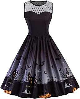 Womens 50s Cocktail Dress Vintage Halloween Costume A-line Flared Party Prom Dress Plus Size XL-5XL