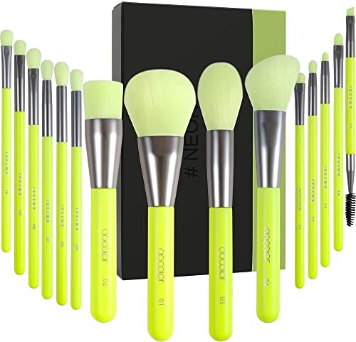 Docolor pennelli make up 15 pezzi Neon Green Kabuki Foundation Pennello per sfumare Cipria Blush Correttori Pennelli ...