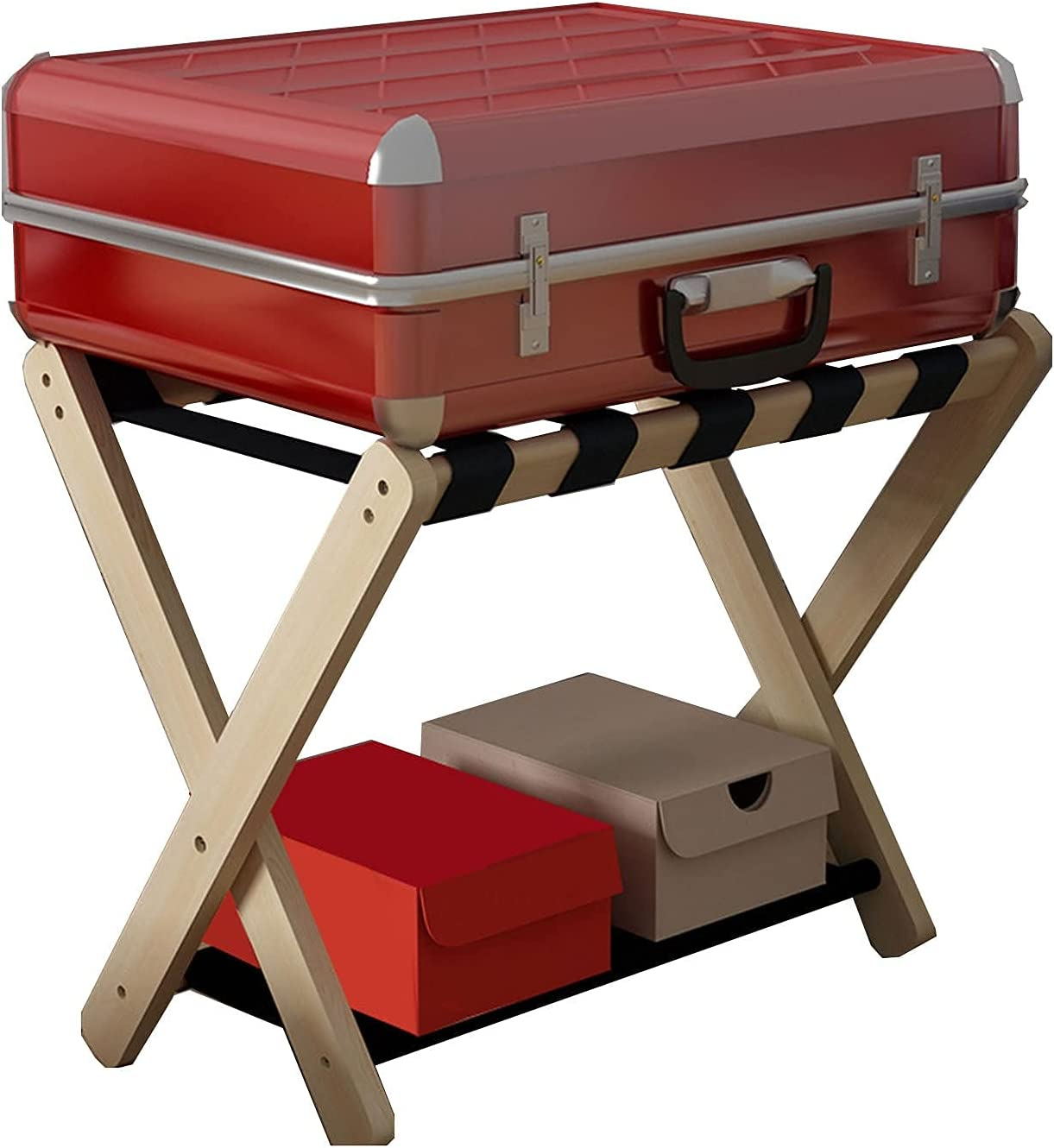 CZYNB Hotel Direct A surprise price is realized stock discount Wooden Luggage Rack Double Foldable R Tiers