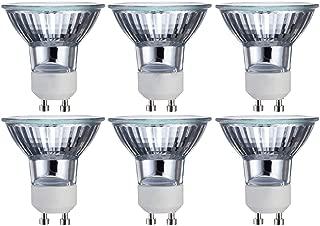 GU10 Bulb 6 Pack 120V 50W MR16 with UV Glass Cover Long Life Dimmable Halogen Flood Light Bulb