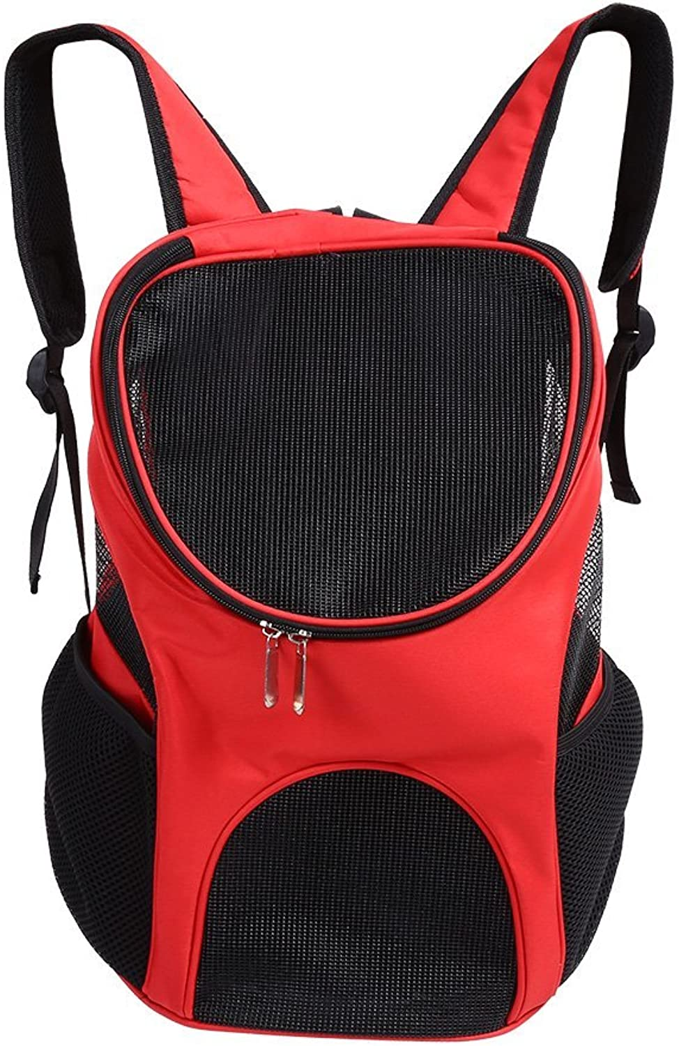 Pet Backpack Safe and Comfortable Portable Cat and Dog Breathable Mesh Hiking Outdoor Sports Backpack (Red)