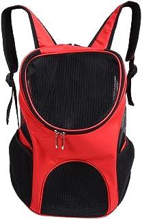 Asixx Bolsa de Transporte de Mascota, Mochila para Perro Y Gato,con 2 Cremalleras para Evitar Que Las Mascotas Salten de La Bolsa,(Rojo)