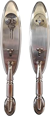 Lex by Constructor Satin Nickel Finish Elite Door Lock Entry Lever Single Cylinder Double Handle Set CON-LEX-SN