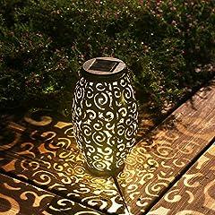 ஐ【GORGEOUS & UNIQUE DESIGN】-- This outdoor solar lantern is designed to embellish your patio. Its attractive hollowed-out pattern and subtle glow lights up your patio in a special way, beautiful visual effects create romantic ambience. It's a perfect...