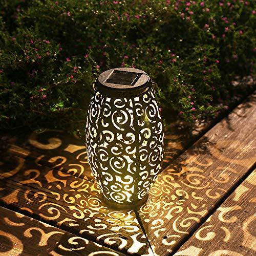 Esgarden Solar Light Outdoor Hanging Solar Lantern Garden Outdoor Solar Light with Handle Retro Metal Waterproof Patio Yard Pathway Decorative 1 Pc Bronze