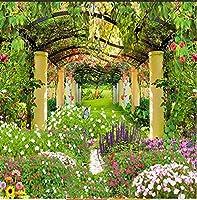 カスタム写真の壁紙牧歌的な庭の花3D壁壁画レストランカフェリビングルーム背景壁画壁画壁紙-250Cmx175Cm