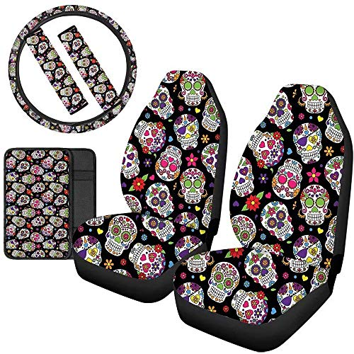 Aoopistc 6 Piece Set Car Accessories Sweat Floral Skull Cars Seat Covers Steering Wheel Pads Safety Seatbelt Shoulder Strap Cushion Auto Armrest Center Console Mats for Women Men Best Gift