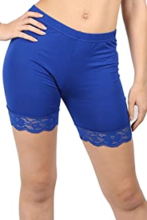 Oops Outlet Women's Lace Trim Jersey Gym Bike Cycling Hot Pants Tights Shorts