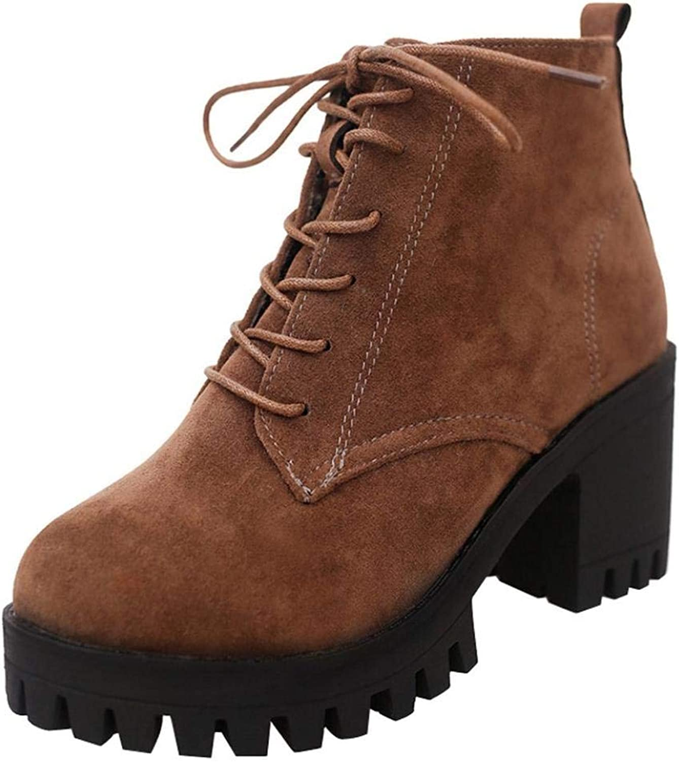 GouuoHi Womens Boots Fashion Women Round Toe Lace-up Non-Slip Leather Boots Casual Martin shoes Leisure Elegant Soft Wild Tight Super Quality for Womens