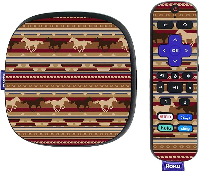 MightySkins Skin Compatible with Roku Ultra HDR 4K Streaming Media Player (2020) - Western Horses | Protective, Durable, and Unique Vinyl Decal wrap Cover | Easy to Apply | Made in The USA
