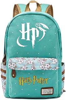 Mochila Escolar de Flores para niñas Mochilas Informales de Moda/de Compras/de Viaje, Mochila de la Serie Harry Potter (Estilo E) L Verde Claro