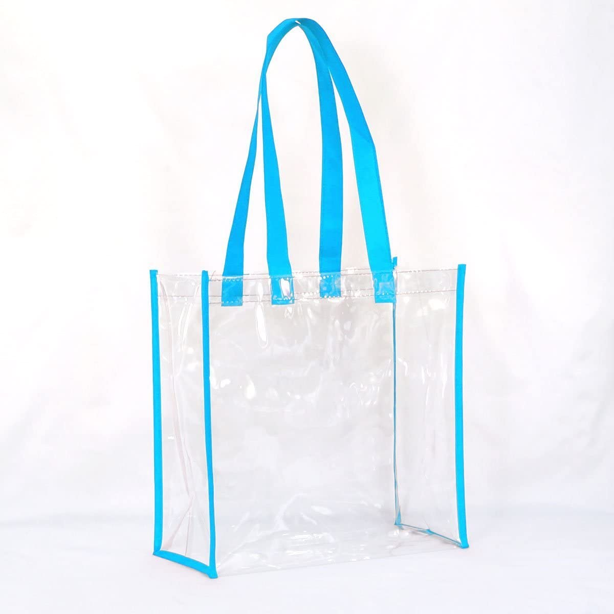NFL Football Stadium Approved with Handles 12x12x6 for Men and Women Beach Tote Clear Vinyl with Colored Trim BagsOnTheNet Large Clear Tote Bag