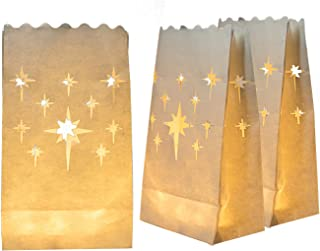 Homemory 24 PCS White Luminary Bags, Flame Resistant Candle Bags, Stars Design Luminaries for Wedding, Halloween, Thanksgiving, Party, Christmas