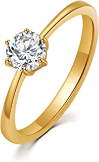 HZMAN Stainless Steel Engagement Rings Oval Cut Round CZ Wedding Band Classic Six Prong Ring For Women Size 5-11