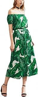 Sexy Summer Dress Green Palm Leaf Print Dress Womens Off Shoulder A Line Long Dress