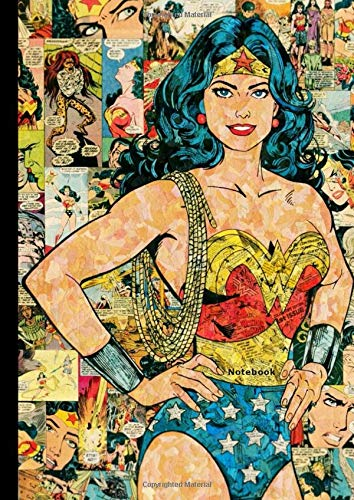 "Notebook: Wonder Woman, DC Superhero, Comics, Journal, Diary (130 Pages, 8.27"" x 11.69"", in lines with a margin), College Ruled, Cute Girl, Unique ... Notebook for Men Kids Teens Students Adults"