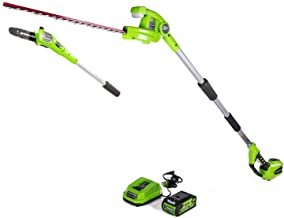 Greenworks 8 Inch 40V Cordless Pole Saw with Hedge Trimmer Attachment 2.0Ah Battery and..