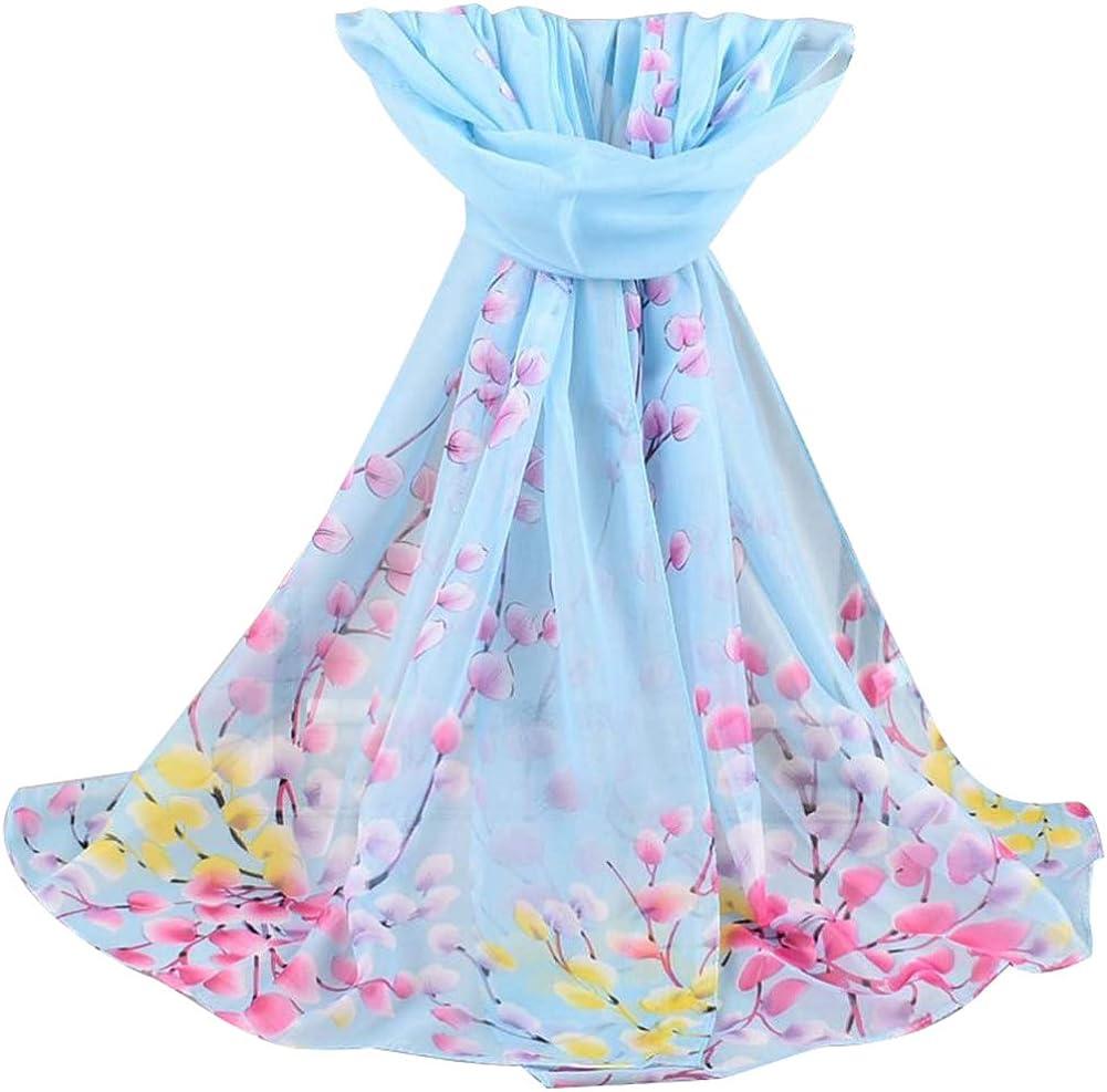 UTUT 5Pcs Chiffon Scarf Fashion Women Soft Blossom Printed Long Shawl Soft Wrap Chiffon Scarves Gift - Purple