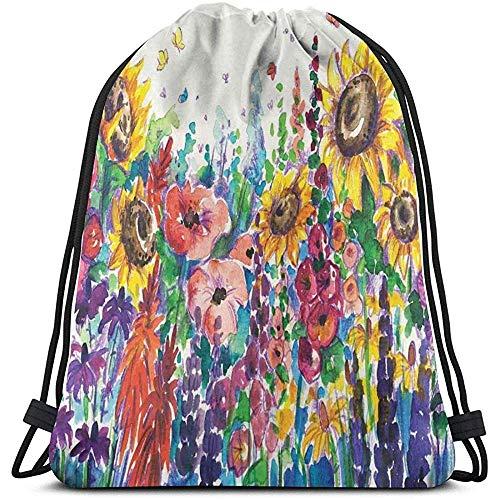 Bolsa de cordón con cordón para atraer de la mochila floral estilo acuarela flores silvestres país utensilios de cocina flores arte impresión mochila de viaje deporte Cinch Pack bolsas de gimnasio