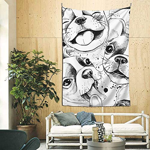 Tnbr51@ French Bulldog Tapestry Decor Tapestries Symbolism Vintage Wall Blanket Art Handicraft for Bedroom Living Room Dorm(90 x 60 inches)