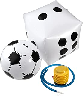 NUOLUX PVC Inflatable Dice + White Soccer Ball + Inflator Pump for Kids Adults Playing Beach Pool Toys Party Decoration