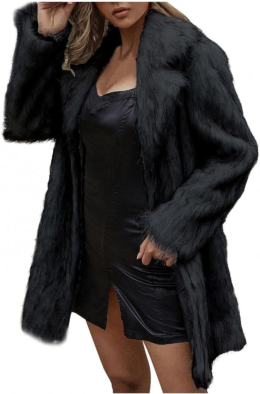 Women's Long Faux Fur Jacket Shaggy Coat Winter Warm Outerwear C