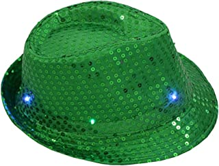 aa1cb0e1eb3fa FEDULK Unisex Light Up Led Fedora Cap Colorful Sequin Fancy Dress Dance  Party Women Men Hat