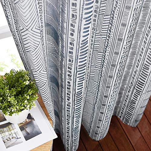"""NICETOWN Semi Sheer Flax Curtains for Bedroom, Grommet Top Bohemian Style Linen Textured Semitransparent Privacy Window Treatment Light Filtering for Flat / Apartment, 50"""" W x 63"""" L, 1 Pair"""
