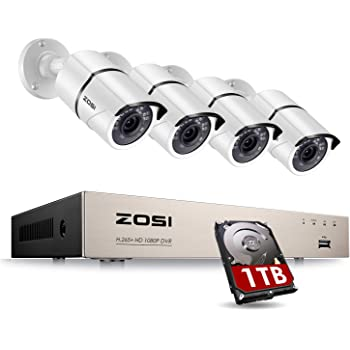 ZOSI 8CH 1080P Home Security Camera System Outdoor with 1TB Hard Drive, H.265+ 8 Channel 1080P Wired DVR with 4pcs 1080P HD IP67 Weatherproof CCTV Cameras with 120ft Night Vision,Easy Remote Access