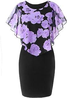 ReooLy Abendkleider Große Größe Beiläufige Frauen Rosen-Druck-Chiffon- O-Ansatz Schmetterlings-Hülsen-Rüsche-Elegantes Kleid-Minikleid Bleistift Partei-Cocktailkleid