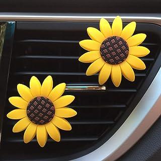 2xPACK Sunflower Car Accessories Cute Car Air Freshener Sunflower Air Vent Clips Automotive Interior Trim Girasoles Car Decorations Gift (DD)
