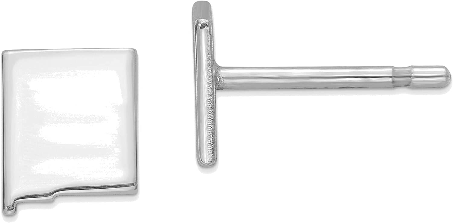 14kt White Gold NM Small State Earring