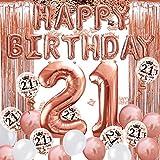 iZoeL 21 ans déco anniversaire or rose, bannière joyeux anniversaire, ballon hélium chiffres 21 XXL, Rideau à Franges or rose confettis latex numéro tableau deco confettis fille femmes