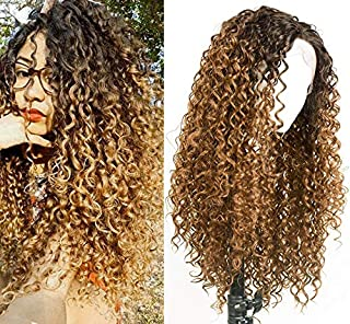 RunM Blonde Long Curly Lace Front Wigs For Black Women Ombre Dark Brown Roots Glueless Heat Resistant Synthetic Lace Front Wig Curly (Blonde mix Brown Fiber)
