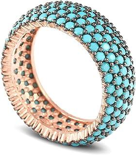خواتم فضة استرلينية 925 للنساء، خواتم نسائية من حجر الفيروزية الأزرق، خاتم مجوهرات نسائية أنيقة، مجوهرات فيروزية للنساء