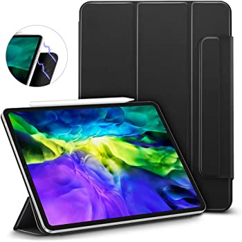ESR iPad Pro 11 ケース 2020 磁気吸着 [第二世代 Pencilのペアリング & 充電に対応] オートスリープ/ウェイク スリム 軽量 シルク手触り 高級感 三つ折りスタンド リバウンドマグネティックスマートケース(ブラック)